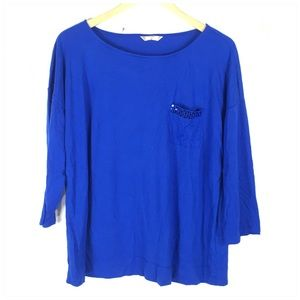 Royal Blue 3/4 Sleeve Top With Sequin Pocket XL